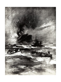 WW1 - Rms Laconia Torpedoed, 25th February 1917 Giclee Print by E.s. Hodgson