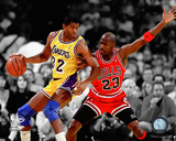 Michael Jordan & Magic Johnson 1990 Spotlight Action Photo