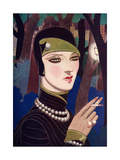A Fashionable Woman Wearing Pearls and Smoking Giclee Print by Eliot Hodgking