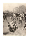 Player Making a Tackle in a Rugby Game Giclee Print by Ernest Prater