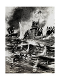 WW1 - Hms E13 British Submarine - Aground and Attacked Giclee Print by E.s. Hodgson