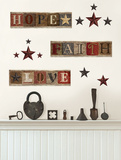 Hope Faith Love Americana Decals Autocollant mural