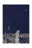Halley's Comet Seen from Notre Dame, Paris Gicléetryck av Evelyn Paul