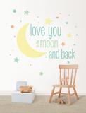 Love You to the Moon Quote - Duvar Çıkartması