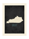 Black Map Kentucky Prints by Rebecca Peragine
