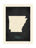 Black Map Arkansas Art by Rebecca Peragine