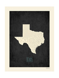 Black Map Texas Prints by Rebecca Peragine
