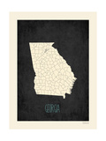 Black Map Georgia Print by Rebecca Peragine