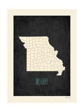 Black Map Missouri Art by Rebecca Peragine