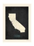 Black Map California Kunst van Rebecca Peragine