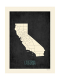 Black Map California Art by Rebecca Peragine