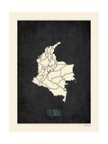 Black Map Colombia Kunstdrucke von Rebecca Peragine