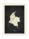 Black Map Colombia Prints by Rebecca Peragine