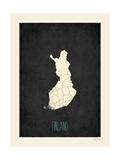 Black Map Finland Reprodukcje autor Rebecca Peragine