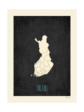 Black Map Finland Prints by Rebecca Peragine