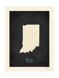 Black Map Indiana Plakat autor Rebecca Peragine