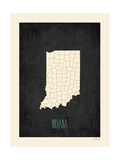 Black Map Indiana Poster by Rebecca Peragine