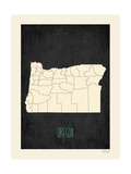 Black Map Oregon Prints by Rebecca Peragine