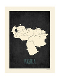 Black Map Venezuela Premium Giclee Print by Rebecca Peragine