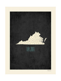 Black Map Virginia Print by Rebecca Peragine