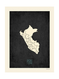 Black Map Peru Print by Rebecca Peragine