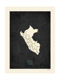 Black Map Peru Prints by Rebecca Peragine