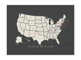 Black Map USA Giclee-tryk i høj kvalitet af Rebecca Peragine
