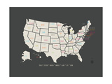 Black Map USA Premium Giclee Print by Rebecca Peragine