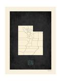 Black Map Utah Prints by Rebecca Peragine