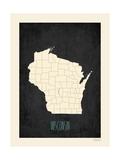 Black Map Wisconsin Prints by Rebecca Peragine