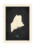 Black Map Maine Prints by Rebecca Peragine