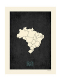 Black Map Brazil Prints by Rebecca Peragine