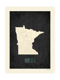 Black Map Minnesota Prints by Rebecca Peragine