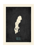 Black Map Sweden Print by Rebecca Peragine