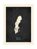Svart karta över Sverige Posters av Rebecca Peragine