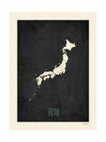 Black Map Japan Affiche par Rebecca Peragine