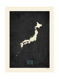 Black Map Japan Print by Rebecca Peragine