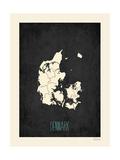 Black Map Denmark Plakaty autor Rebecca Peragine