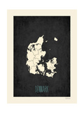 Black Map Denmark Posters by Rebecca Peragine