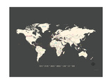 Black Map World Posters van Rebecca Peragine