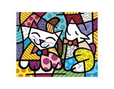 Happy Cat and Snob Dog Posters av Romero Britto
