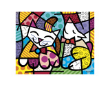 Happy Cat and Snob Dog Poster by Romero Britto