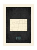 Black Map Wyoming Prints by Rebecca Peragine