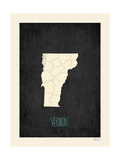 Black Map Vermont Prints by Rebecca Peragine