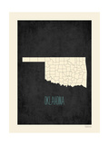 Black Map Oklahoma Posters by Rebecca Peragine