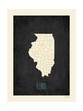 Black Map Illinois Reprodukcje autor Rebecca Peragine
