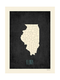Black Map Illinois Prints by Rebecca Peragine