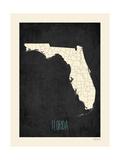 Black Map Florida Reprodukcje autor Rebecca Peragine