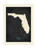 Black Map Florida Prints by Rebecca Peragine