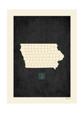 Black Map Iowa Prints by Rebecca Peragine